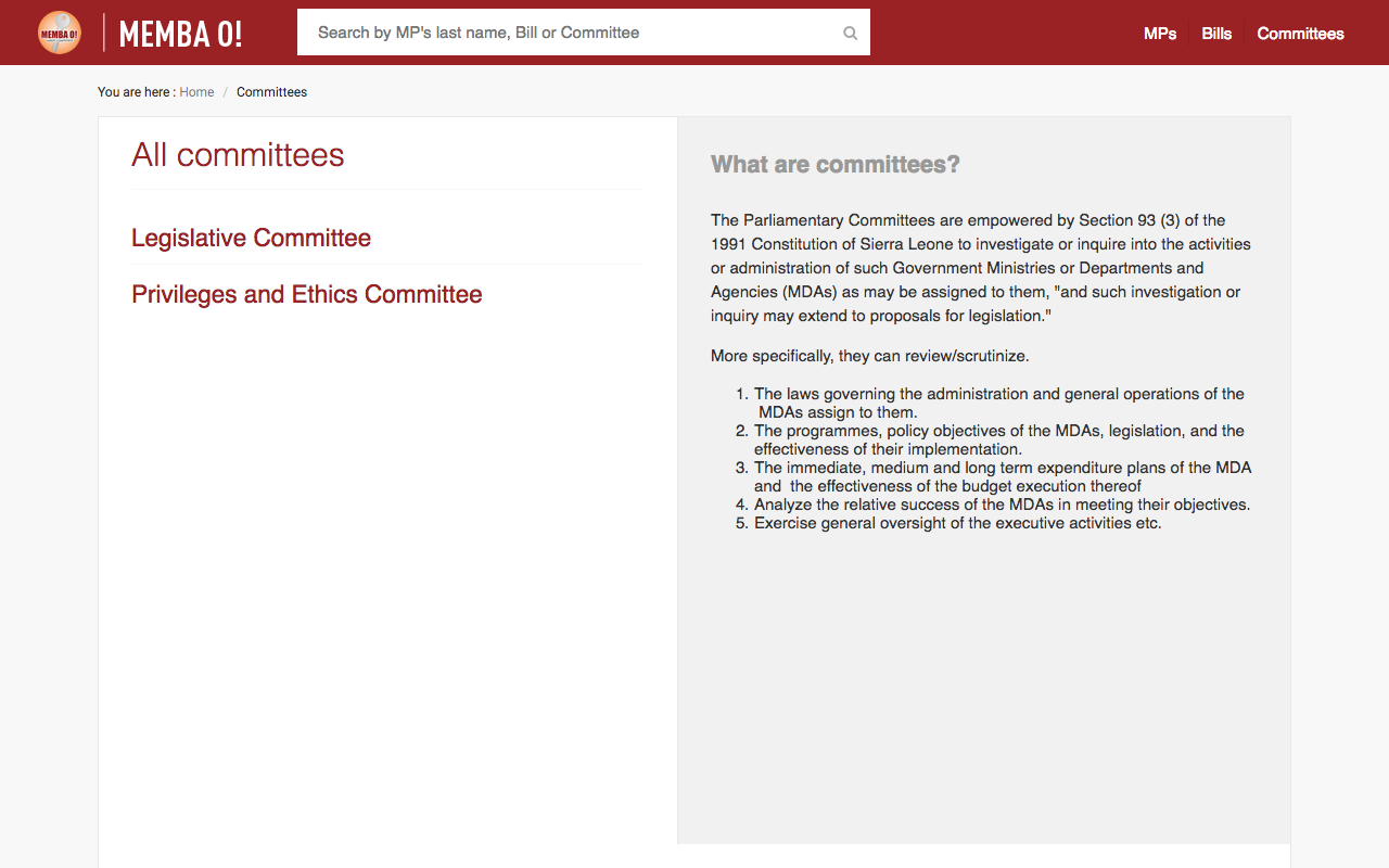 Information on Parliament Committees